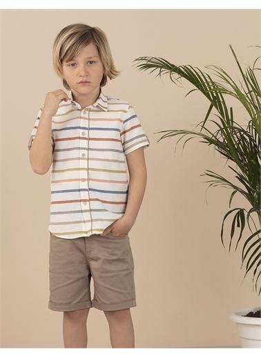 Ollie & olla Renkli Çizgili Erkek Çocuk Gömlek Krem